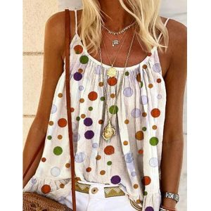 2021 New   Summer Women Printed Camisole Top Large Size Loose Vest - White - XX Large