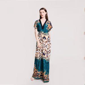 2021  New Women Clothes Leopard Print Short Sleeve V-neck Women plus Size Dress Summer - Blue Leopard Pattern - XXXX Large