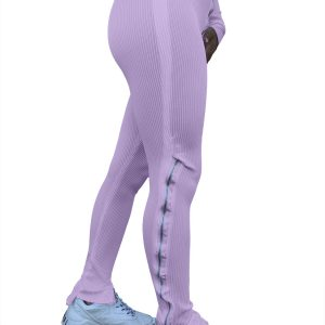 Women Clothing  Fashion Pure Color Tight Zipper High Waist Casual Slit Slightly Flared Sports Pants - Purple - XX Large