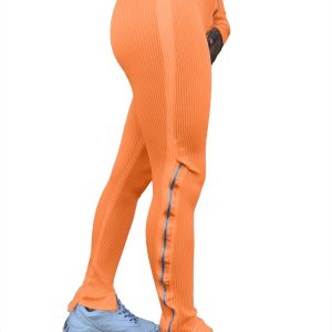 Women Clothing  Fashion Pure Color Tight Zipper High Waist Casual Slit Slightly Flared Sports Pants - Orange - XX Large