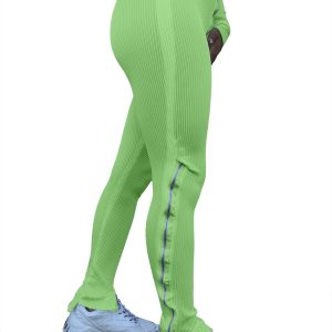 Women Clothing  Fashion Pure Color Tight Zipper High Waist Casual Slit Slightly Flared Sports Pants - Green - XX Large