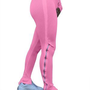 Women Clothing  Fashion Pure Color Tight Zipper High Waist Casual Slit Slightly Flared Sports Pants - Pink - XX Large