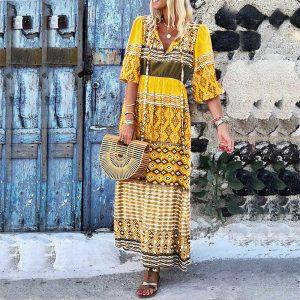 2021 New Women Fashion V  Neck Half Sleeves Bohemian Loose Printed Dress - Yellow - Extra Large