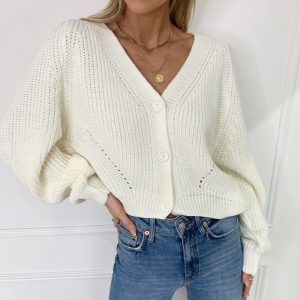 Autumn and Winter  New Sweater Women Cardigan Solid Color and V-neck Lantern Sleeve Button Knitted Cardigan 2021 - White - Extra Large
