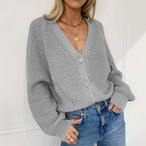 Autumn and Winter  New Sweater Women Cardigan Solid Color and V-neck Lantern Sleeve Button Knitted Cardigan 2021 - Gray - Extra Large