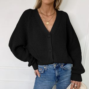 Autumn and Winter  New Sweater Women Cardigan Solid Color and V-neck Lantern Sleeve Button Knitted Cardigan 2021 - Black - Extra Large