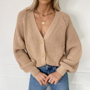 Autumn and Winter  New Sweater Women Cardigan Solid Color and V-neck Lantern Sleeve Button Knitted Cardigan 2021 - Khaki - Extra Large