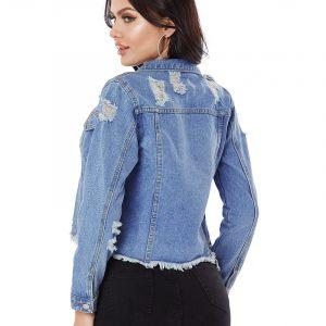 2021   Denim Jacket Women Ripped  Short Raw Edge Denim Jacket Women Clothing - The Blue - Large