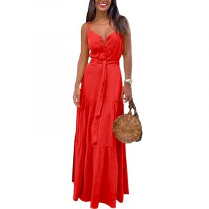 2021 Plus Size Summer New Women Clothing Personalized Button Sexy V Neck Splicing Sling Dress - Red - XXX Large