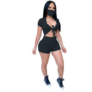 Women Clothing Summer New Button Strap Casual Sports Sexy Jumpsuit (Including Mask) - Black - XX Large