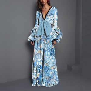 Plus Size Summer Women Fashion Middle East Popular Sexy V Neck Printed Jumpsuit - Blue - XXX Large
