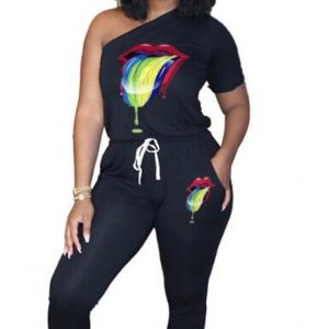Women  Clothing One Shoulder Fashion Tie Sexy Lips Casual Sports Jumpsuit - Black - XX Large