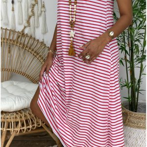 2021 Women Clothing New Plus Size Striped Long Dress - The red stripe - XXX Large