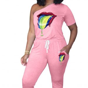 Women  Clothing One Shoulder Fashion Tie Sexy Lips Casual Sports Jumpsuit - Pink - XX Large