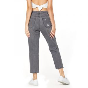 Loose Jeans Women Jeans Street Ripped Jeans Flare Cut Pants - Gray - Large