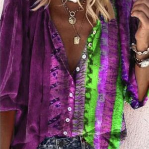 2021 Plus Size New Positioning Printing Long Sleeve V Neck Buttons Women Shirt - Purple - XXXXX Large