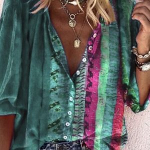 2021 Plus Size New Positioning Printing Long Sleeve V Neck Buttons Women Shirt - Green - XXXXX Large
