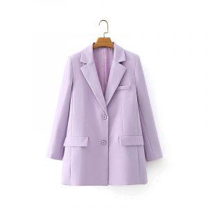 2021 Blazer Autumn Taro Purple Suit Coat High Waist Wide Leg Suit Middle Pants Casual Suit for Women - Taro Purple Suit - Large