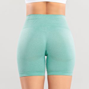 Tight Seamless Knitted High Waist Hip Lift Sports Shorts Quick Dry Training Fitness Sports Shorts - Green - Large