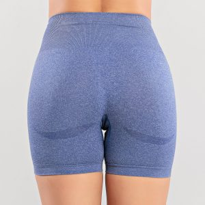 Tight Seamless Knitted High Waist Hip Lift Sports Shorts Quick Dry Training Fitness Sports Shorts - Purple - Large