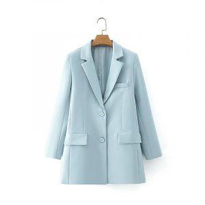 2021 Blazer Autumn Taro Purple Suit Coat High Waist Wide Leg Suit Middle Pants Casual Suit for Women - Sky Blue Suit - Large