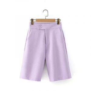 2021 Blazer Autumn Taro Purple Suit Coat High Waist Wide Leg Suit Middle Pants Casual Suit for Women - Taro Purple Shorts - Large