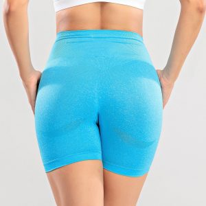 Tight Seamless Knitted High Waist Hip Lift Sports Shorts Quick Dry Training Fitness Sports Shorts - Blue - Large
