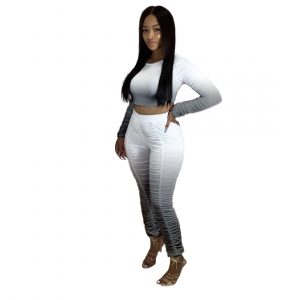 Fashion New Gradient Pleated Long Sleeve Casual Sports Suit - Gray - XX Large