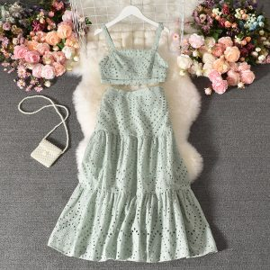 Suit New Women Western Style Sleeveless Vest All-Matching Long Skirt Stylish Two-Piece Suit Skirt - Light Green - Large