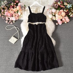 Suit New Women Western Style Sleeveless Vest All-Matching Long Skirt Stylish Two-Piece Suit Skirt - Black - Large