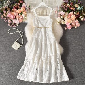 Suit New Women Western Style Sleeveless Vest All-Matching Long Skirt Stylish Two-Piece Suit Skirt - White - Large