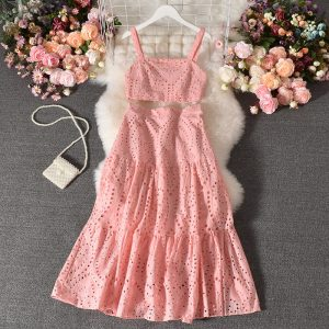 Suit New Women Western Style Sleeveless Vest All-Matching Long Skirt Stylish Two-Piece Suit Skirt - Pink - Large