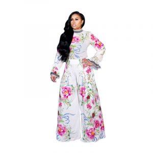 Autumn New  Women  Clothing Printed High Waist Wide Leg Chiffon Long Sleeve Two-Piece Set - White - XX Large