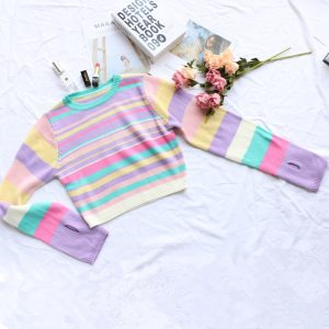 2021  New Knitwear Women Candy Color Striped Finger Fit Design Short Knitted Bottoming Shirt Top - Rainbow Stripes - Medium