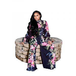Autumn New  Women  Clothing Printed High Waist Wide Leg Chiffon Long Sleeve Two-Piece Set - purplish blue - XX Large