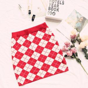 2021 Autumn and Winter New  Women Clothing Retro Diamond Plaid Skinny Knit Short Skirt Women All-Match High Waist Plaid Skirt - Red - Medium