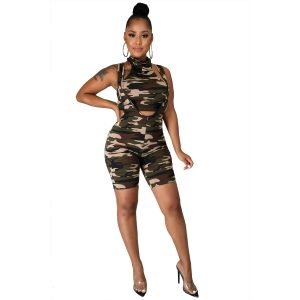 New Women Clothes Suspenders Sexy Camouflage Suit (Including Bandage Mask) - Brown Green - XX Large