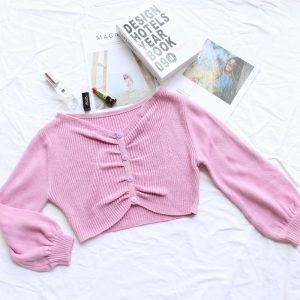 Sweater Autumn  New  Lantern Sleeve Pleated Irregular Short Sweater Top Women - Pink - Medium