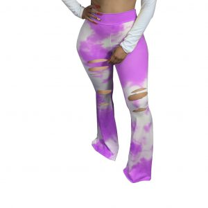 Women Clothing Autumn New Tie-Dyed Elastic Ripped Tight Casual Effect Bell-Bottoms - Purple - XX Large