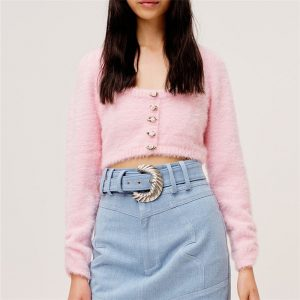 2021 New Women Clothing Early Autumn Sweet Pink Furry Low round Neck Knitted Cropped Sweater Coat - Pink - Medium