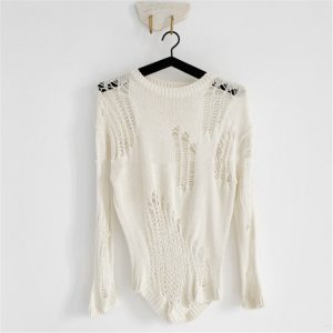2021 New Women Clothing Loose Hole Thin Hollow Long-Sleeved Knitwear Blouse Crew Neck Pullover Sweater - Ivory - One Size