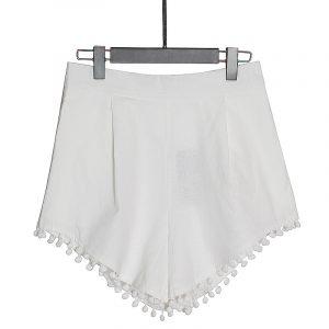 2021 Summer New Fashion Shirt Collar Puff Sleeve Button Lace Embroidered Shirt High Waist Wide Leg Shorts Suit - Shorts - Medium
