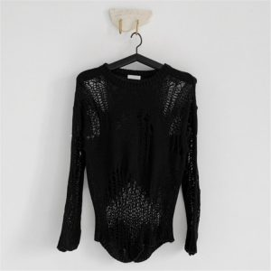 2021 New Women Clothing Loose Hole Thin Hollow Long-Sleeved Knitwear Blouse Crew Neck Pullover Sweater - Black - One Size