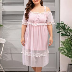 New Victoria Style Mesh Lace Homewear plus Size Plump Girls Pink Dress - Pink - XXXX Large