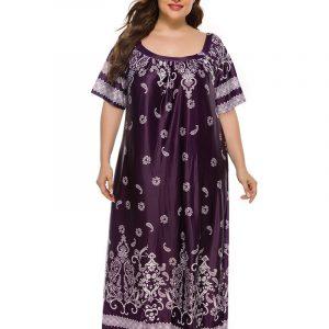 plus Size Women£ßs Dress Home Wear Retro Ethnic Style Paisley Dress Wearable - Purple - XXXXX Large