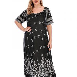 plus Size Women£ßs Dress Home Wear Retro Ethnic Style Paisley Dress Wearable - Black - XXXXX Large