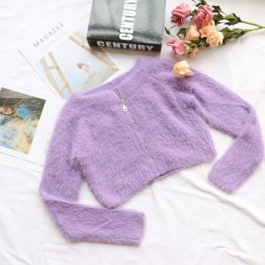 Fall Women Clothing New Coat Girl Purple Furry Zipper Mink Fur Knitted Cardigan - Purple - Medium
