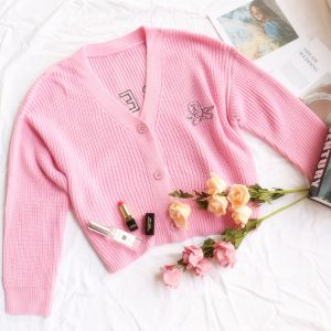 Cardigan Autumn Outer Wear Letter Angel Embroidery Loose Sweater Coat Button Sweater for Women - Pink - Large