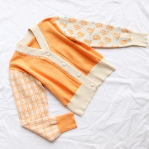 French Retro Flower Asymmetric Sleeves Stitching Age-Reducing Orange Short Sweater Cardigan Autumn and Winter - Orange - One Size