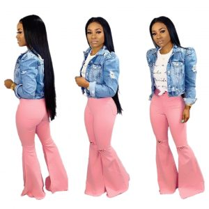 Hand Frayed High Waist Ripped Trousers Flared Jeans 2021 - Pink - XX Large